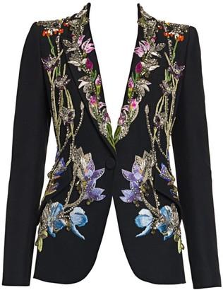 Alexander McQueen Crystal-Embellished Floral Embroidered Blazer