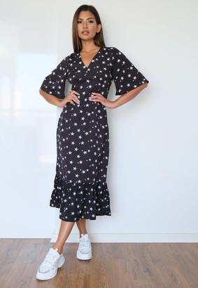 Missguided Black Star Print Ruched Frill Hem Midi Dress