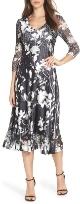 Komarov Sheer Sleeve Floral Print Charmeuse A-Line Dress