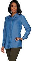 Martha Stewart Button Front Chambray Blouse with Side Slits