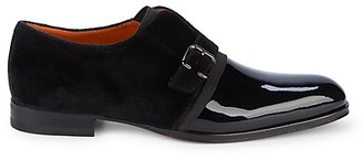 Mezlan Mixed-Media Patent Leather Loafers