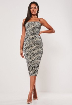 Missguided Stone Snake Print Slinky Cami Ruched Midi Dress