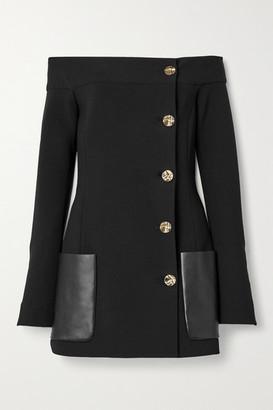 Proenza Schouler Off-the-shoulder Leather-trimmed Wool-blend Crepe Jacket - Black