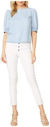 BB Dakota Diamond In The Puff Indigo Lyocell Puff Sleeve Top (Chambray) Women's Clothing