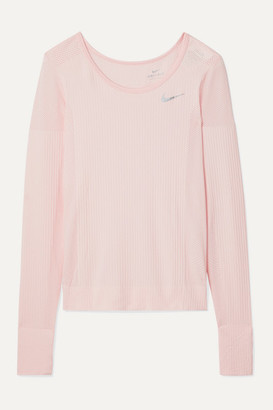 Nike Infinite Mesh-paneled Dri-fit Stretch-jacquard Top - Pastel pink