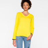 Paul Smith Women's Yellow Cotton V-Neck Sweater
