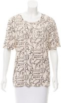 Tory Burch Abstract Print Scoop Neck T-Shirt