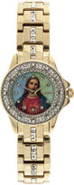 Elgin Womens Jesus Crystal-Accented Watch