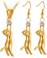 U7 Yellow Plated Rhinestone Cat Jewelry Set Crystal Earrings Necklace Set