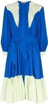 Batsheva Western contrast-panel midi dress