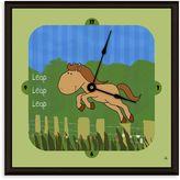 Green Leaf Art Jumping Horse Decorative Art Clock