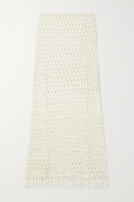 Marysia Swim Tasseled Crocheted Bamboo Midi Skirt - Cream