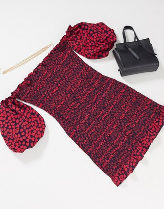 Topshop shirred bardot mini dress in red print