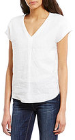 Vince Camuto Two by Extend Sleeve Relaxed V-Neck Linen Blouse