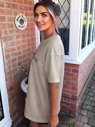 AX Paris YSW Printed T-Shirt - Stone