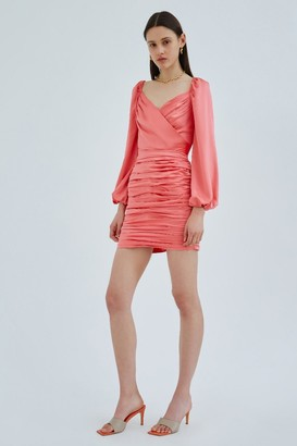 C/Meo CONTRASTING LONG SLEEVE DRESS Coral