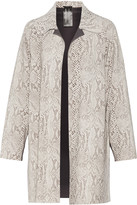 Norma Kamali Reversible snake-effect stretch tech-jersey coat