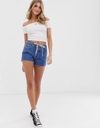 Levi's 501 high waist shorts with drawstring-Blue