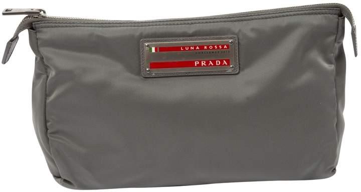Prada Vintage Grey Cloth Clutch Bag