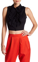 Flying Tomato Cropped Sleeveless Ruffled Blouse