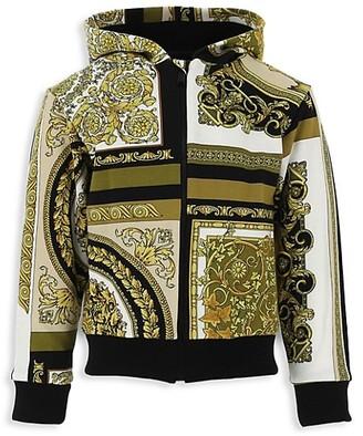 Versace Little Kid's & Kid's Jersey Heritage-Print Zip-Up Hooded Sweater
