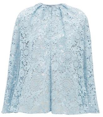 Prada Cotton Blend Guipure Lace Cape - Womens - Blue