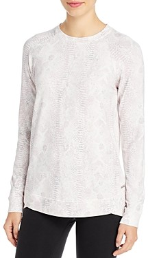 Andrew Marc Snakeskin Print Active Long-Sleeve Top