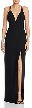 Aidan Mattox Cage-Back Crepe Gown