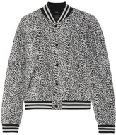 R 13 Quilted Leopard-print Silk Bomber Jacket - Gray