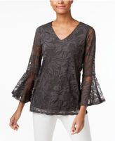 Alfani Ruffle-Sleeve Floral Burnout Top, Only at Macy's