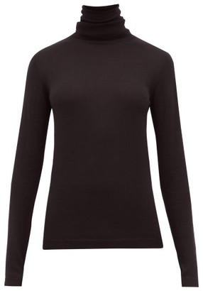 Sara Lanzi Merino Wool Roll Neck Top - Womens - Black