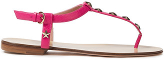 Red(V) Studded Pebbled-leather Sandals