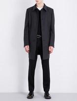 HUGO BOSS Striped single-breasted wool-blend coat