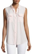 Equipment Slim Signature Sleeveless Blouse, Rose