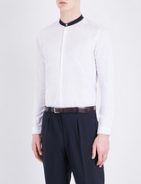 Sandro Contrasting-collar cotton-poplin shirt
