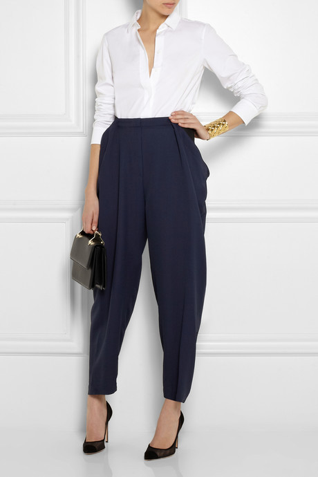 Vionnet Draped woven tapered pants