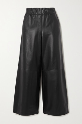 Loewe Leather Wide-leg Pants - Black