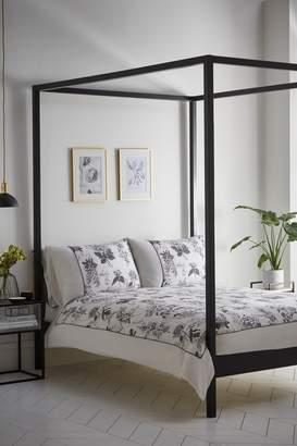 Karen Millen Illustrated Cotton Floral Duvet Cover and Pillowcase Set - Grey