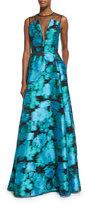 Lela Rose Sleeveless Mesh-Inset Ikat Gown, Green/Multi