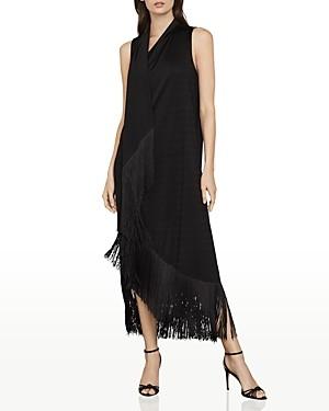 BCBGMAXAZRIA Fringe Trimmed Asymmetrical Maxi Dress