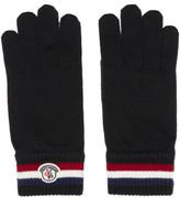 Moncler Black Striped Logo Gloves