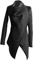 Azbro Women's Turtleneck Irregular Trench Coat with Zip Sleeve, Black XL