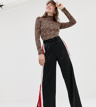 Monki split leg side stripe pants in black
