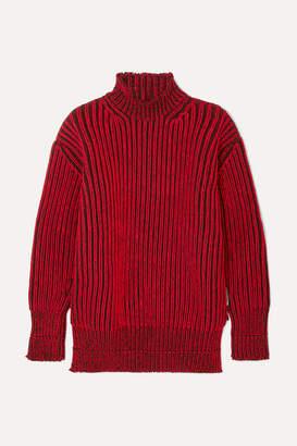 Balenciaga Oversized Ribbed Wool Turtleneck Sweater - Red