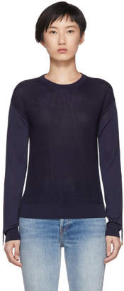 Carven Navy Ruched Sleeves Pullover