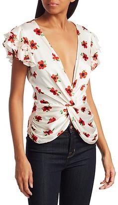 Caroline Constas Rheya Floral Flutter-Sleeve Knot-Front Blouse