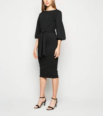 New Look Puff Sleeve Belted Bodycon Dress