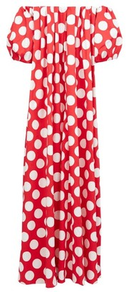 Sara Battaglia Off-the-shoulder Polka-dot Cotton-blend Maxi Dress - Red White