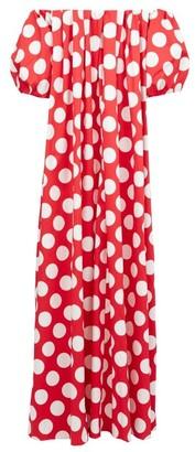 Sara Battaglia Off-the-shoulder Polka-dot Cotton-blend Maxi Dress - Womens - Red White