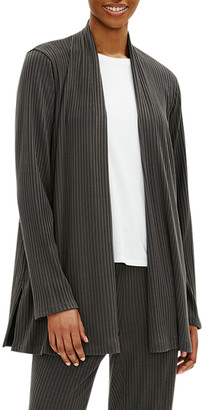 Eileen Fisher Plus Size Ribbed Straight Jacket with Side Slits